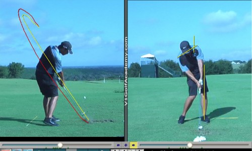 pro golfer gets swing plane improvement