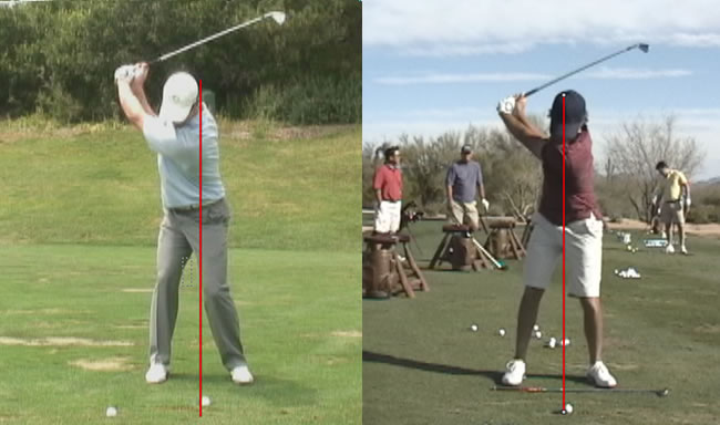 stack and tilt top of backswing