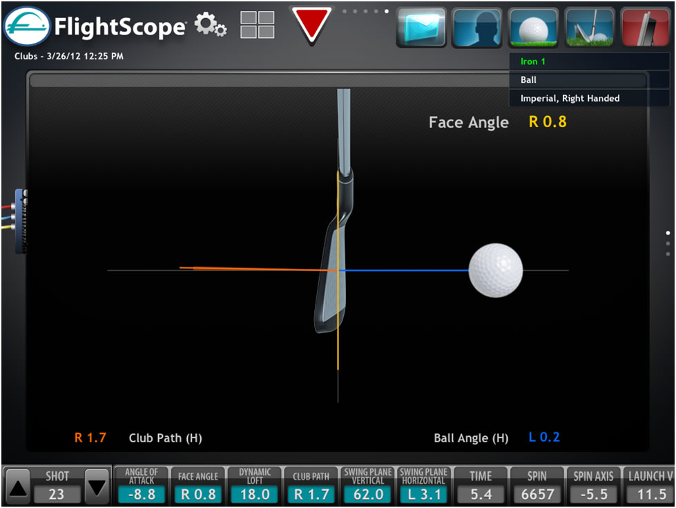 flightscope x2 face angle measurement