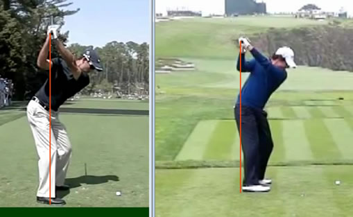 Charl Schwartzel and Rory McIlroy backswing