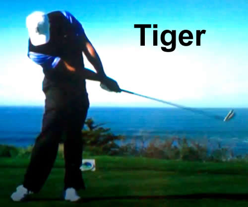 tiger woods release of the golf club