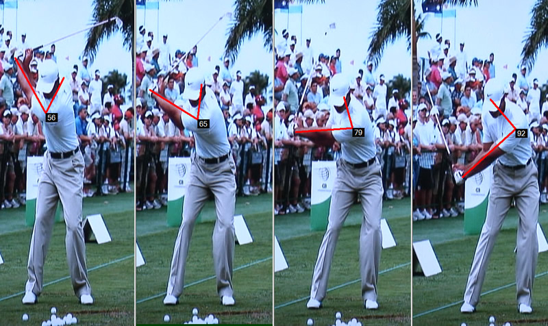 tiger woods left arm in the downswing
