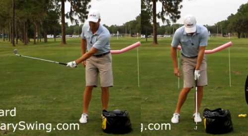 Arm to waist height, wrist flat at impact