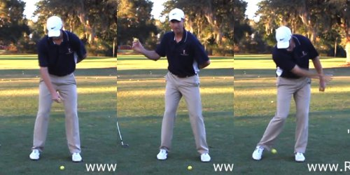 Get into address posture, turn with arm in front of torso, and throw