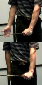 Weak grip (above), strong grip (below)
