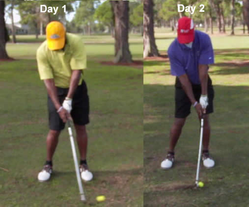 how to take a divot in front of the golf ball